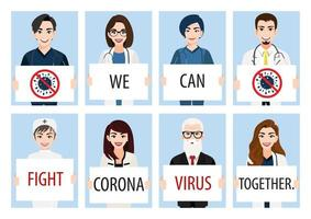Medical staff holding poster requesting fighting Covid-19 vector