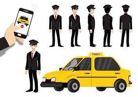 Cartoon character set with order a taxi through the app on smartphone vector
