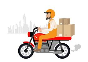 Guy on the bike in a hurry to deliver the order vector illustration.