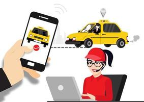 Order a taxi through the app on your phone vector