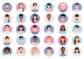 Big bundle of different people avatars vector