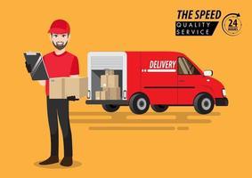 Delivery service van. Vector illustration