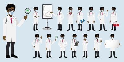 Cartoon character with a professional doctor flat icon design vector