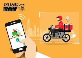 Food delivery app on a smartphone tracking vector