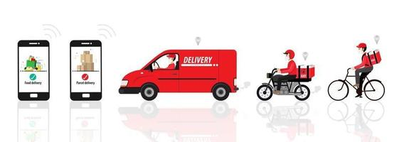 Online order and the parcel delivery concept vector