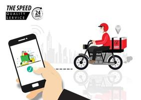 Online order and the food delivery concept vector