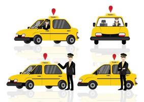 Smiling young taxi driver near Taxi service vector