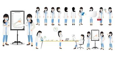 personaje de dibujos animados con un vector de diseño de icono plano médico profesional
