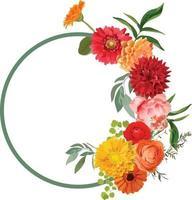 vector de marco de círculo de flor hermosa