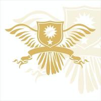 golden wings emblem with banner vector
