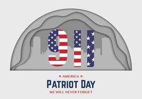 9 11 America Patriot Day Half Circle Paper vector