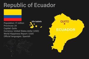 mapa de ecuador muy detallado con bandera, capital y pequeño mapa del mundo vector