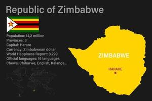 Highly detailed Zimbabwe map with flag, capital and small map of the world vector