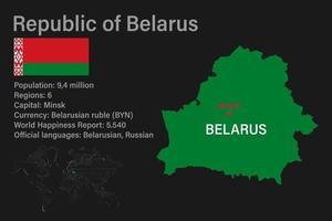 Highly detailed Belarus map with flag, capital and small map of the world vector