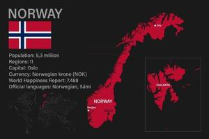 Highly detailed Norway map with flag, capital and small map of the world vector