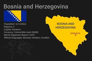 Highly detailed Bosnia and Herzegovina map with flag, capital and small map of the world vector