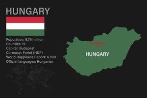 Highly detailed Hungary map with flag, capital and small map of the world vector