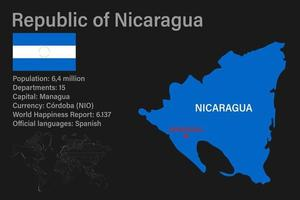 Highly detailed Nicaragua map with flag, capital and small map of the world vector