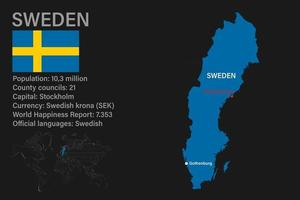 Highly detailed Sweden map with flag, capital and small map of the world vector