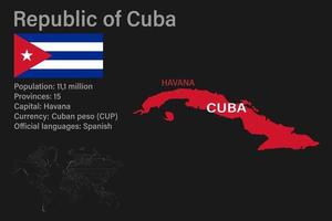 Highly detailed Cuba map with flag, capital and small map of the world vector