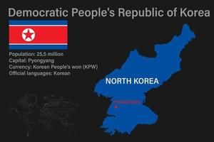 Highly detailed North Korea map with flag, capital and small map of the world vector
