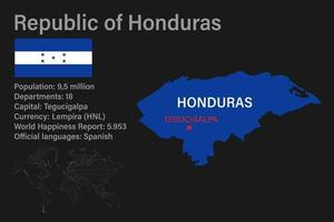 Highly detailed Honduras map with flag, capital and small map of the world vector
