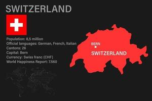 Highly detailed Switzerland map with flag, capital and small map of the world vector