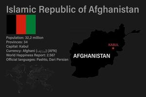 Highly detailed Afghanistan map with flag, capital and small map of the world vector