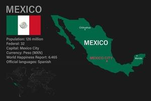 Highly detailed Mexico map with flag, capital and small map of the world vector