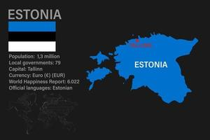 Highly detailed Estonia map with flag, capital and small map of the world vector