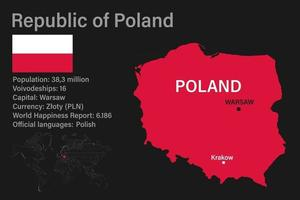 Highly detailed Poland map with flag, capital and small map of the world vector