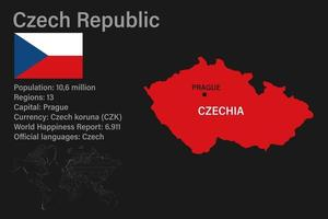 Highly detailed Czechia map with flag, capital and small map of the world vector