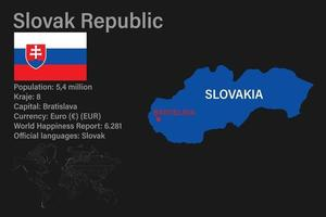 Highly detailed Slovakia map with flag, capital and small map of the world vector