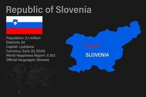 Highly detailed Slovenia map with flag, capital and small map of the world vector