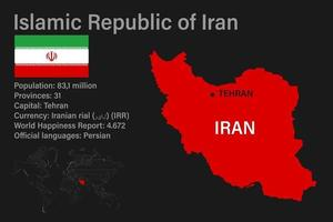 Highly detailed Iran map with flag, capital and small map of the world vector