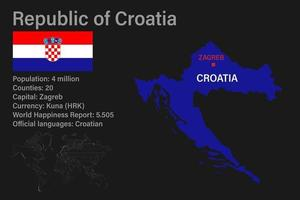 Highly detailed Croatia map with flag, capital and small map of the world vector
