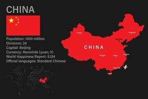 Highly detailed China map with flag, capital and small map of the world vector
