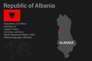 Highly detailed Albania map with flag, capital and small map of the world vector