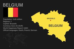 Highly detailed Belgium map with flag, capital and small map of the world vector