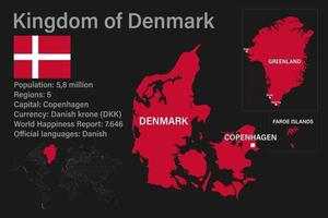 Highly detailed Kingdom of Denmark map with flag, capital and small map of the world vector