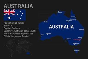 Highly detailed Australia map with flag, capital and small map of the world vector