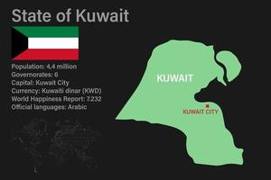 Highly detailed Kuwait map with flag, capital and small map of the world vector