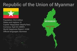 Highly detailed Myanmar map with flag, capital and small map of the world vector