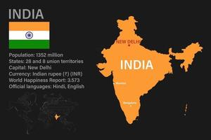Highly detailed India map with flag, capital and small map of the world vector