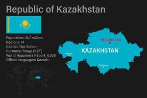 Highly detailed Kazakhstan map with flag, capital and small map of the world vector