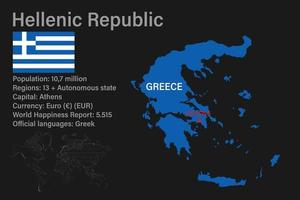 Highly detailed Greece map with flag, capital and small map of the world vector
