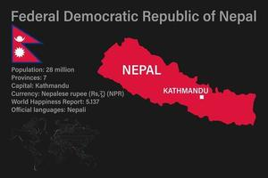 Highly detailed Nepal map with flag, capital and small map of the world vector
