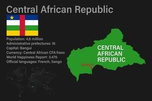 Highly detailed Central African Republic map with flag, capital and small map of the world vector