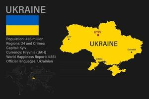 Highly detailed Ukraine map with flag, capital and small map of the world vector