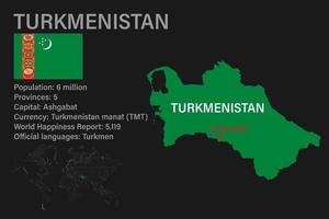 Highly detailed Turkmenistan map with flag, capital and small map of the world vector